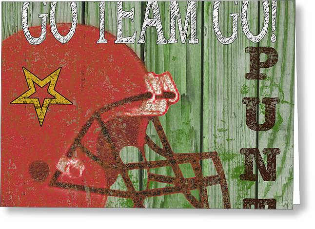 Jocks Greeting Cards - Football Typography-A Greeting Card by Jean Plout