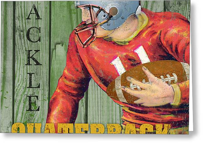 Jocks Greeting Cards - Football Typography-B Greeting Card by Jean Plout