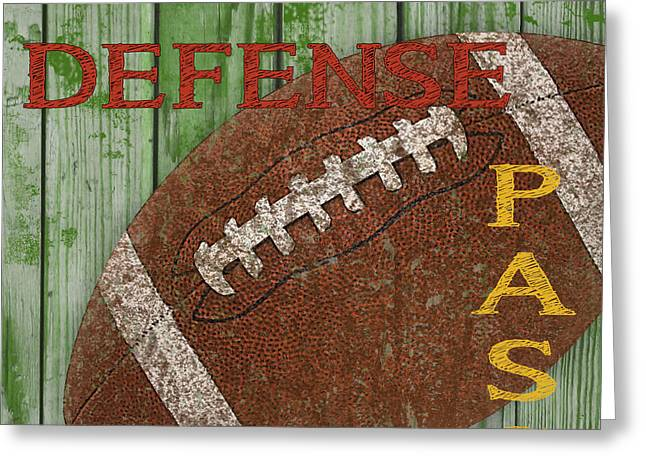 Jocks Greeting Cards - Football Typography-D Greeting Card by Jean Plout