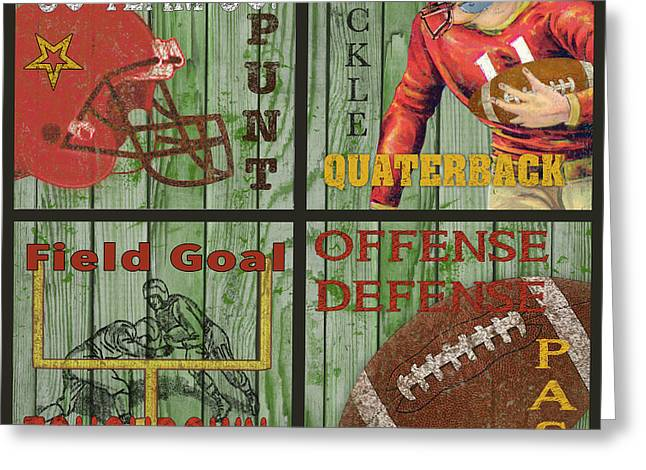 Jocks Greeting Cards - Football Typography-JP2249 Greeting Card by Jean Plout