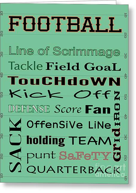 Goalpost Greeting Cards - FOOTBALL typography Greeting Card by Terry Weaver