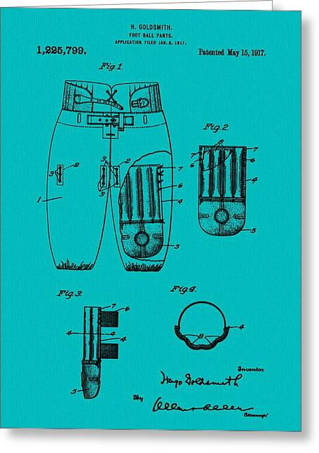 Football Uniform Patent Blue Greeting Card by Dan Sproul