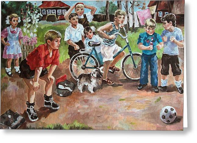 Goalkeeper Paintings Greeting Cards - Football Greeting Card by Yury Denissov