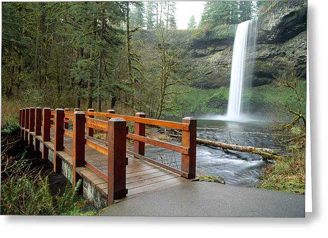Famous State Parks Greeting Cards - Footbridge Across A River Greeting Card by Panoramic Images
