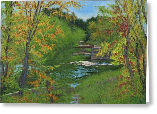 Babbling Paintings Greeting Cards - Footbridge over the Cuyahoga River Greeting Card by Ken Messinger-Rapport