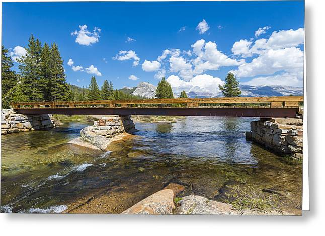 A Natural Bridge Greeting Cards - Footbridge over the River Greeting Card by Joseph S Giacalone