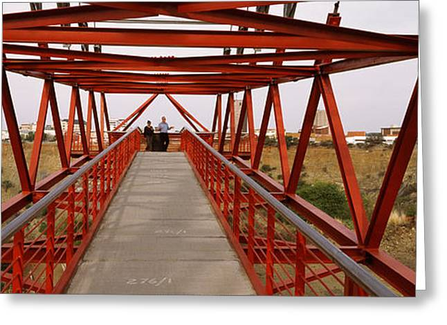 Northern Africa Greeting Cards - Footbridge With A City Greeting Card by Panoramic Images