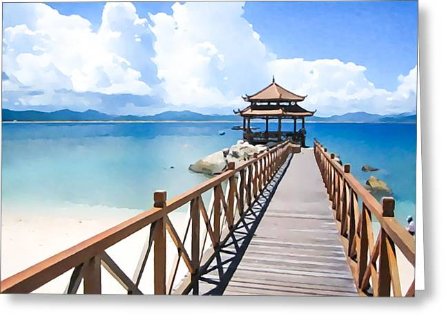 Southern Province Paintings Greeting Cards - Footbrige to pavilion at beach of Wuzhizhou Island Greeting Card by Lanjee Chee