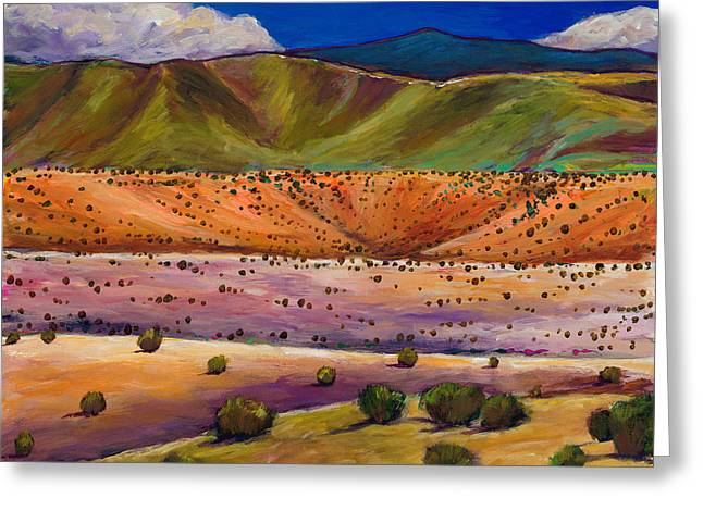 Taos Greeting Cards - Foothill Approach Greeting Card by Johnathan Harris