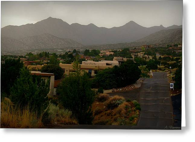 Rincon Greeting Cards - Foothills Drive During a Monsoon Greeting Card by Aaron Burrows