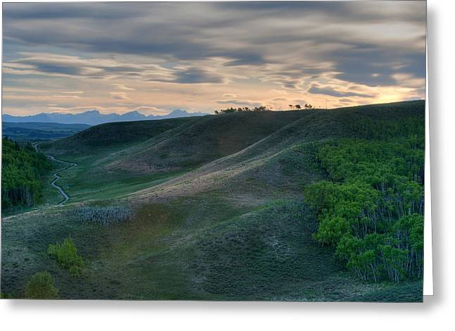 Canadian Foothills Landscape Greeting Cards - Foothills Evening Greeting Card by Heather Simonds