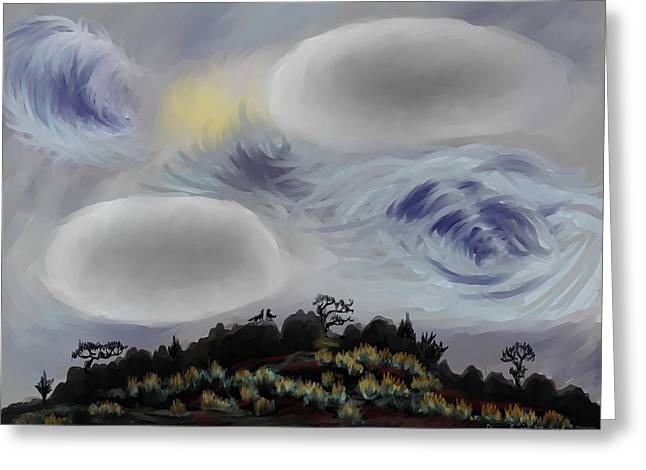 Stormy Weather Pastels Greeting Cards - Foothills Sunrise on my Morning Walk Greeting Card by Dawn Senior-Trask