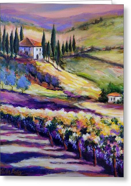 Therese Fowler-bailey Greeting Cards - Foothills Vines and Olives of Tuscany  SOLD Greeting Card by Therese Fowler-Bailey