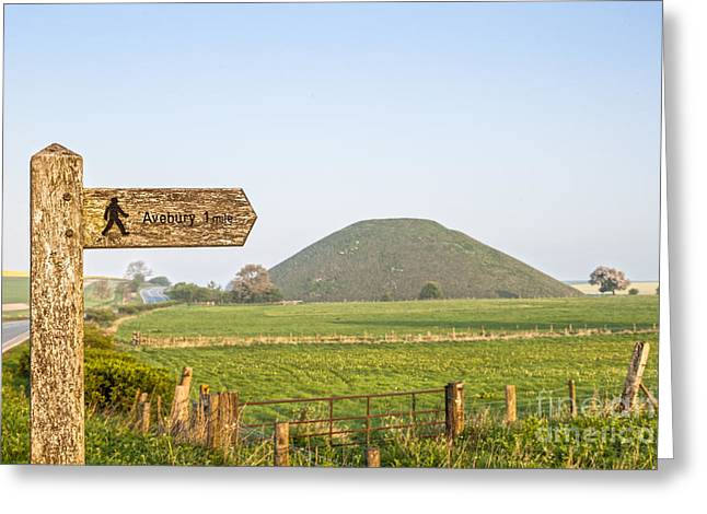 Signpost Greeting Cards - Footpath Signpost to Avebury Near Silbury Hill Greeting Card by Colin and Linda McKie