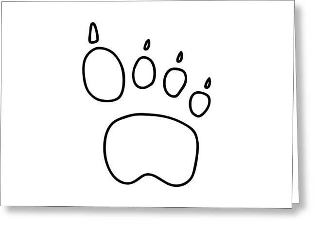 Footprints Drawings Greeting Cards - Footprint Bear Wulf Tiger Greeting Card by Lineamentum