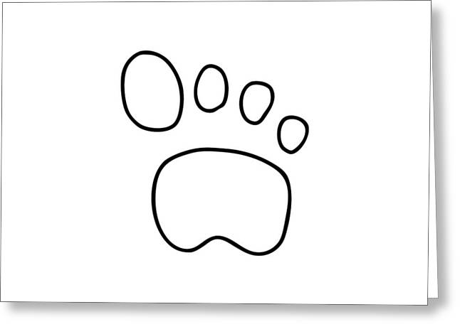 Footprints Drawings Greeting Cards - Footprint Dog Cat Animal Greeting Card by Lineamentum