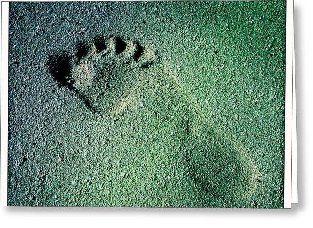 Footprints In The Sand Greeting Cards - Footprint in the sand Greeting Card by Heidi Piccerelli