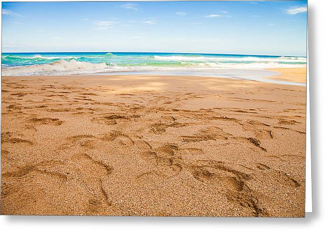 Footprints In The Sand Greeting Cards - Footprints Greeting Card by April Reppucci