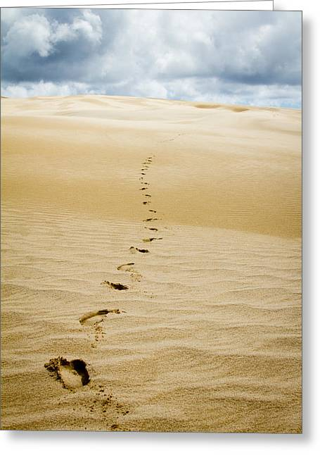 90 Mile Beach Greeting Cards - Footprints in Sand Dune Greeting Card by Asha Agnish