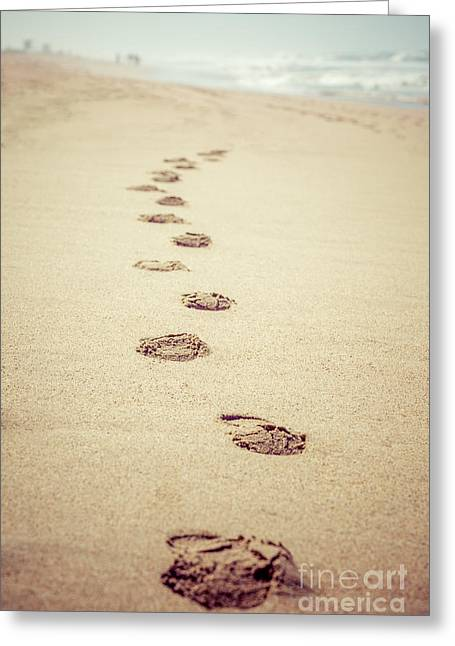 Huntington Beach Greeting Cards - Footprints in Sand Retro Picture Greeting Card by Paul Velgos