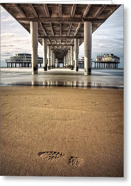 Imprint Greeting Cards - Footprints in the Sand Greeting Card by Dave Bowman