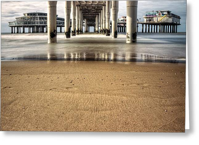 Footprints in the Sand Greeting Card by Dave Bowman
