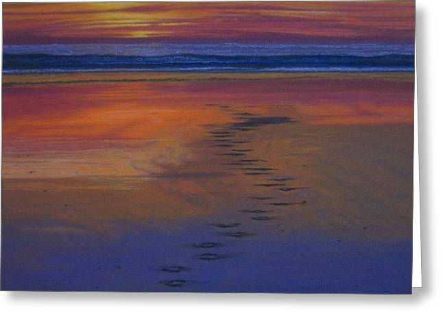 Burgundy Pastels Greeting Cards - Footprints in the Sand Greeting Card by Harvey Rogosin