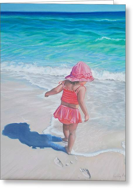 Realistic Pastels Greeting Cards - Footprints in the Sand Greeting Card by Holly Kallie