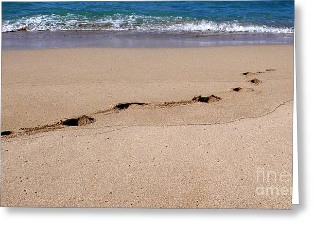 People At The Beach Greeting Cards - Footprints In The Sand Greeting Card by J. Christopher Briscoe