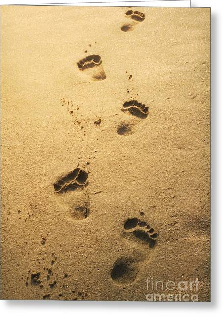 Foot-step Greeting Cards - Footprints in the sand Greeting Card by Jelena Jovanovic