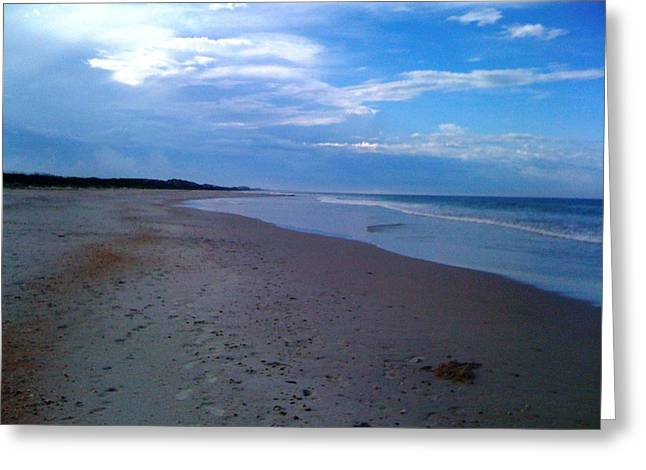 Footprints In The Sand Greeting Card by Julie Wilcox