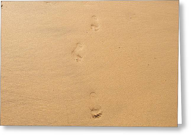 Footprints in the sand Greeting Card by Pixel  Chimp