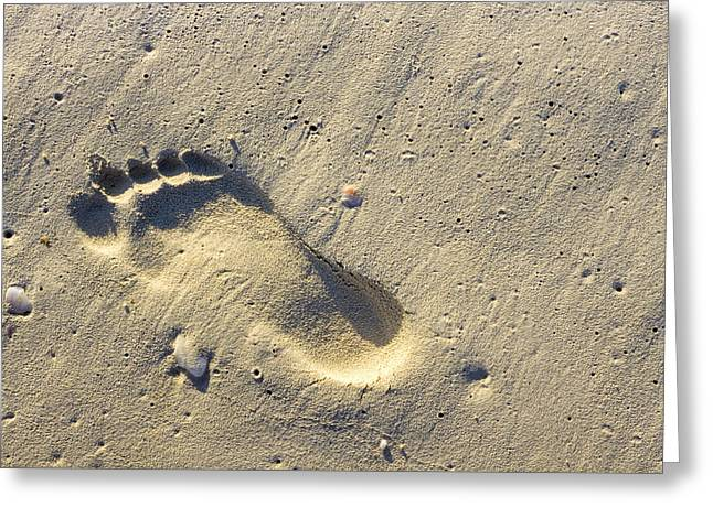 Footprints In The Sands - Playa Del Carmen Greeting Card by Mark E Tisdale