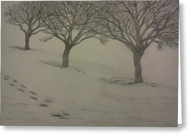 Footprints Drawings Greeting Cards - Footprints in the Snow Greeting Card by Christy Brammer
