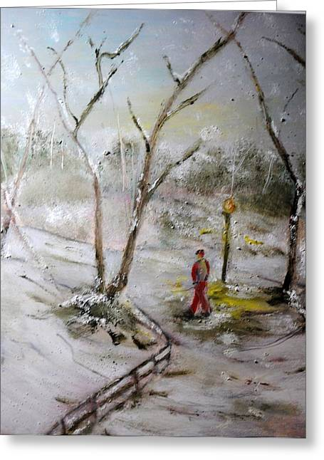 Park Scene Pastels Greeting Cards - Footprints in the Snow Greeting Card by Vivian Gattuso