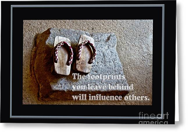 Motivational Poster Greeting Cards - Footprints Left Behind Greeting Card by Tom Gari Gallery-Three-Photography
