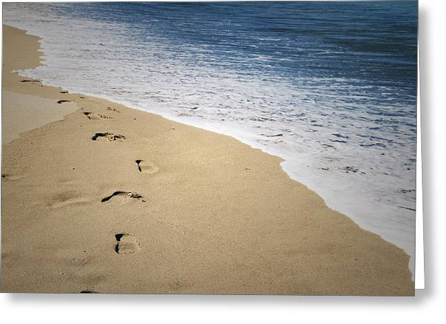 Sand Greeting Cards - Footprints Greeting Card by Les Cunliffe