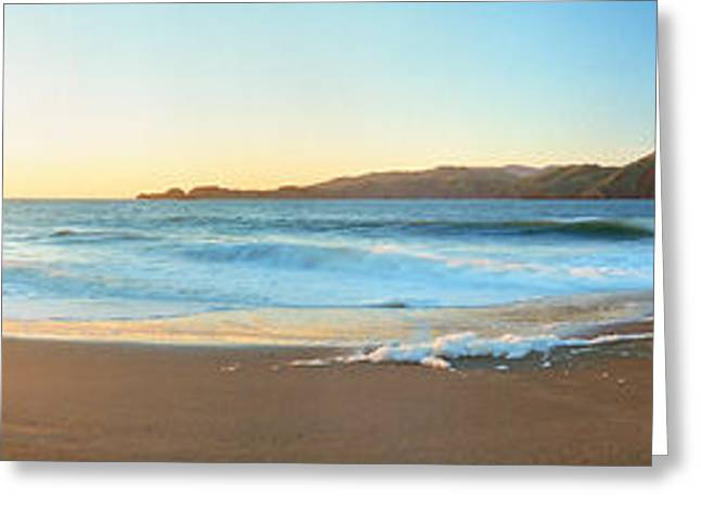 California Beach Image Greeting Cards - Footprints On The Beach, Golden Gate Greeting Card by Panoramic Images