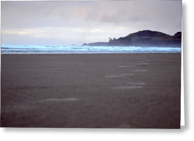 Agate Beach Greeting Cards - Footprints Greeting Card by Sheldon Blackwell
