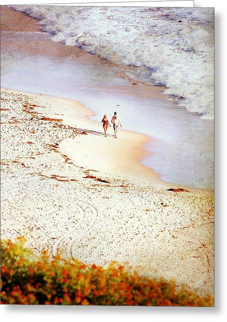 Couple On Beach Greeting Cards - Footsteps Greeting Card by Diana Angstadt