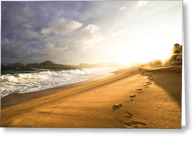 Sand Castles Greeting Cards - Footsteps in the sand Greeting Card by Eti Reid