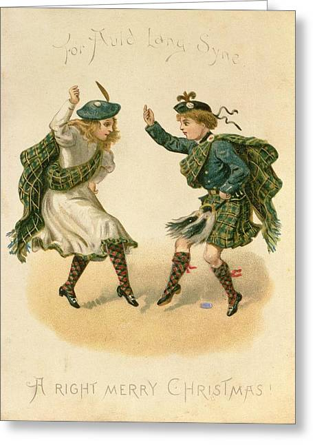 Jig Greeting Cards - For Auld Lang Syne - A Right Merry Christmas Colour Litho Greeting Card by English School