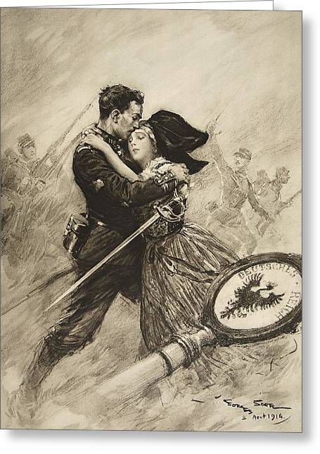 Embrace Greeting Cards - For Love And Country, 1914 Greeting Card by Georges Bertin Scott