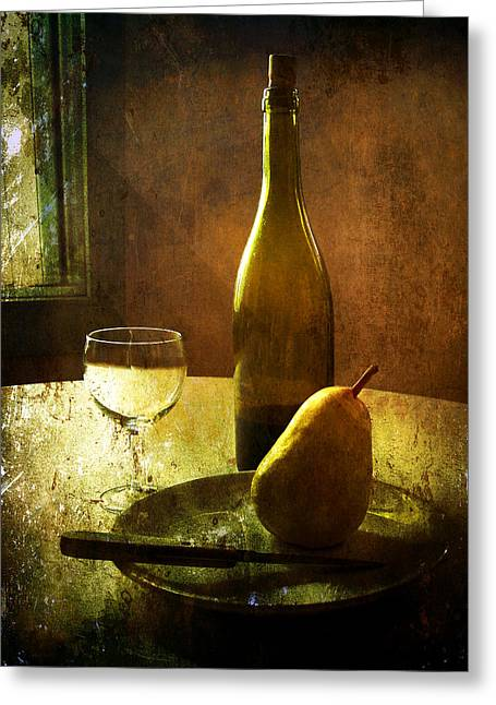 Table Wine Greeting Cards - For One Greeting Card by Julie Palencia