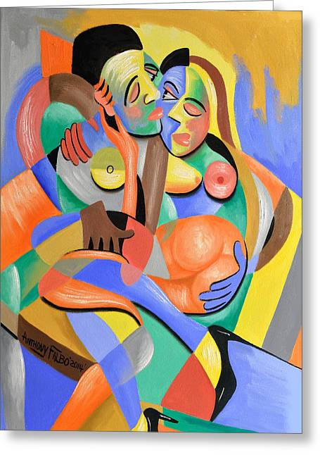Nude Couple Greeting Cards - For Play Greeting Card by Anthony Falbo