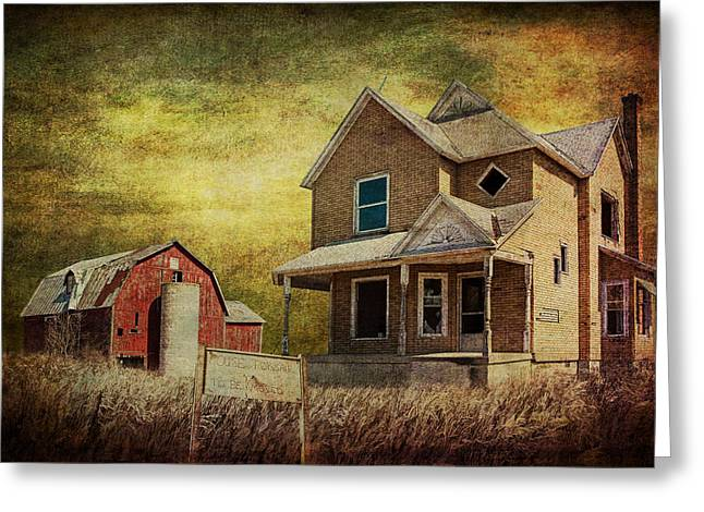 Michigan Farmhouse Greeting Cards - For Sale a forlorn Michigan Farm Greeting Card by Randall Nyhof