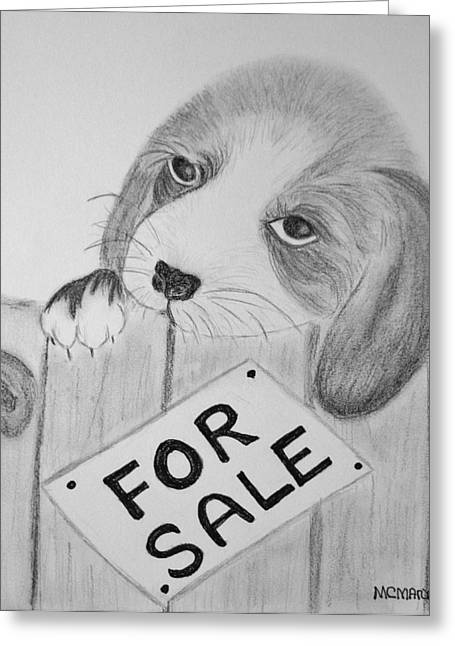 Puppies Drawings Greeting Cards - For Sale Greeting Card by Celeste Manning