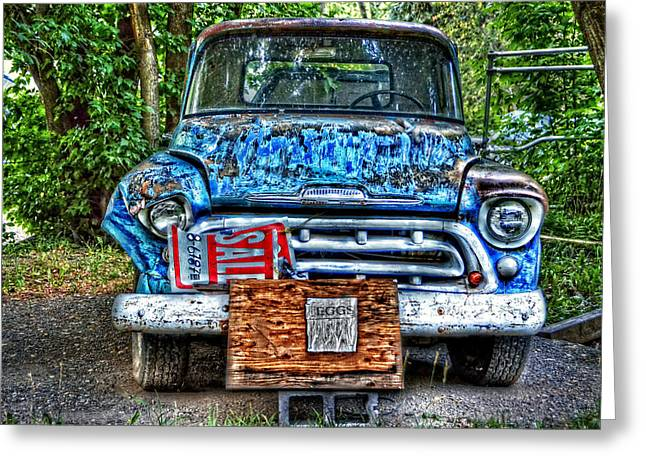 Old Trucks Greeting Cards - For Sale Truck and Eggs Greeting Card by Ken Smith