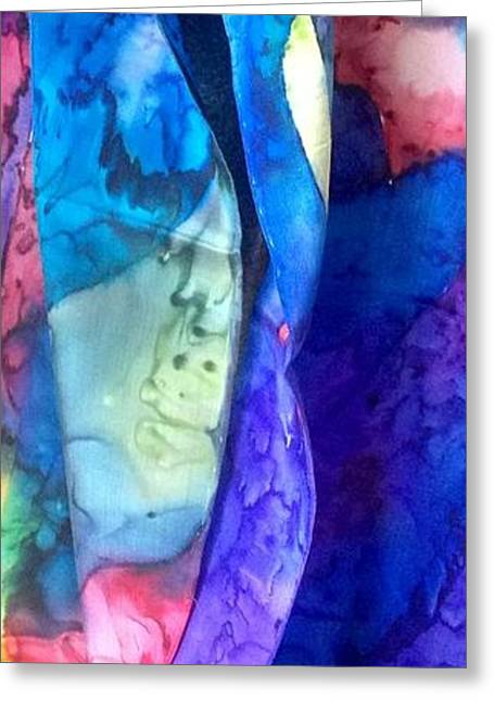Abstract Tapestries - Textiles Greeting Cards - Silk-13 Greeting Card by Julia Shapiro