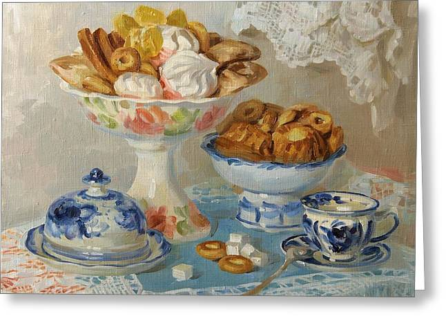 Tea Drinking Greeting Cards - For tea Greeting Card by Victoria Kharchenko
